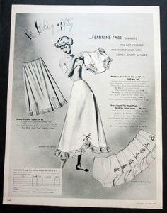 Vintage 1948 Feminine Fair Lingerie Slips & Days of the week Panties