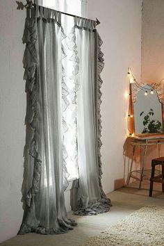Plum & Bow Ruffle Gauze Curtain – Urban Outfitters - Home Dekoration Ruffle Curtains, Shabby Chic Curtains, Farmhouse Curtains, Rustic Curtains, White Curtains, Hanging Curtains, Orange Curtains, Bohemian Curtains, Elegant Curtains
