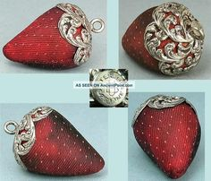 Antique Sterling Silver Topped Strawberry Emery By Unger Brothers Circa 1890