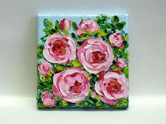 Flower Oil Painting Pink Rose Impasto Garden Original Palette