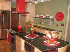Red and green in the home on pinterest red kitchen red for Red and green kitchen ideas