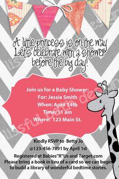 Pink and Gray Modern Giraffe Baby Shower by BlissfulBethDesigns, $10.00