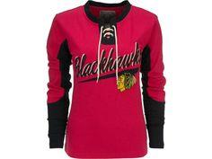 Old Time Hockey Chicago Blackhawks Women's Adina Laceup Jersey T-Shirt - $60