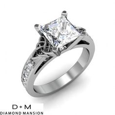 1.44ctw Princess Celtic Knot Pave Natural Diamonds Engagement Ring SI1-G GIA-14k White Gold
