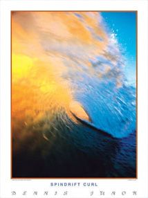 SPINDRIFT CURL Perfect Wave Surfing Poster - Pacific Ocean, Orange and Blue Spray Wave -Available at www.sportsposterwarehouse.com Surfs Up, Pacific Ocean, Curls, Surfing, Waves, Orange, Poster, Blue, Painting