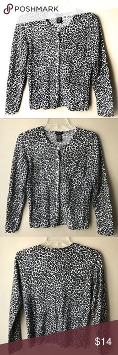 "New York and Company leopard print cardigan NY&Co leopard print cardigan. Button down. Long sleeved. Great condition without holes, tears, or stains. Normal wash wear. Measures approx 18"" from armpit to armpit. New York & Company Sweaters Cardigans"