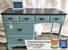 What a great color combo from Christines Country Collection, https://www.facebook.com/christinescountrycollection?fref=ts.  General Finishes Persian Blue Milk Paint and Java Gel Stain compliment each other perfectly on this refinished desk.