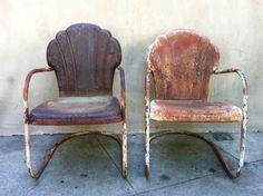 vintage metal rockers   vintage metal chairs   Vintage Metal chairs