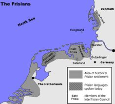 Frisian historical settlement areas,showing arras wherea Frisian language is spoken today
