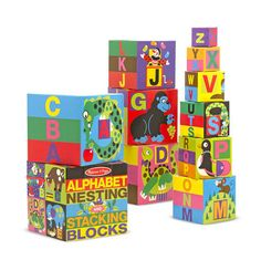 Melissa & Doug Alphabet Nesting and Stacking Blocks (Developmental Toys, Easy Storage, 10 Cardboard Nesting Boxes, Great Gift for Girls and Boys – Best for and 4 Year Olds) – Shopping Guide P Alphabet, Alphabet Blocks, English Alphabet, Learning Toys, Early Learning, Quiet Toddler Activities, Stacking Blocks, Developmental Toys, Melissa & Doug