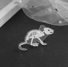 Creepy or cute? You decide! This rat skeleton pin is made of acrylic and zinc alloy. It is cm x cm. Fall 2018, Rats, Skeleton, Brooches, Robot, Creepy, Medicine, Enamel, Canada