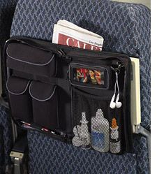 Magellan's Slimline In-Flight Organizer Panel, which straps to the back of the seat and has enough pockets for electronics, eyeglasses, wallet and sundries. magellans.com