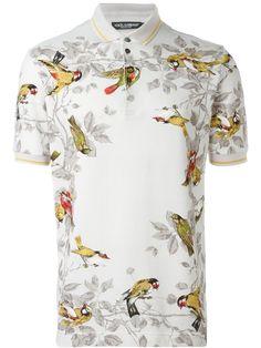 Dolce & Gabbana Bird Print T-shirt Mens Designer Polo Shirts, Mens Polo T Shirts, Printed Polo Shirts, Boys T Shirts, Shirt Men, Look Street Style, Dolce And Gabbana Man, Vogue, Tee Design