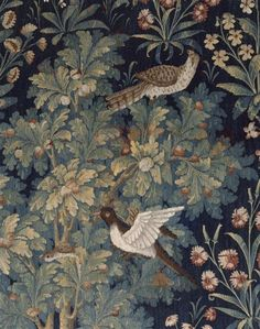 """Tapestry The hanging of """"La Vie Seigneuriale"""": Medieval Tapestry, Medieval Art, William Morris, Of Wallpaper, Pattern Wallpaper, Tapestry Wallpaper, Unicorn Tapestries, Stoff Design, Art Japonais"""
