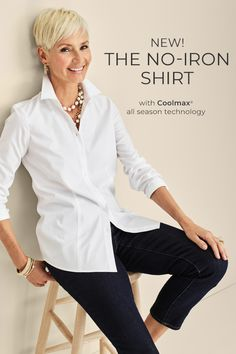 The smartest shirt around, our new no-iron shirt with CoolMax® All Season Technology is perfect for any weather. It warms you.  Source by chicos for women over 50 Over 60 Fashion, Over 50 Womens Fashion, Fashion Over 50, Chicos Fashion, Fashion Outfits, Fashion Trends, Classic Outfits For Women, Stylish Outfits For Women Over 50, Clothes For Women Over 50