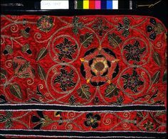 A late-sixteenth-century English chasuble; the embroidered motifs include a Tudor rose