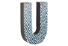 Letter U, Navy Greek Key on OneKingsLane.com