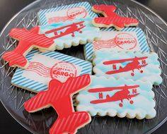 Precious Cargo Baby Shower-Vintage airplane and postage theme cookies  BZ Bees Sweet Treats Custom Cookies NJ