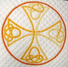 couching soutache Celtic Cross, I love celtic knots, designed most of the knots for this quilt myself, also made most of the bias usint pointilist fabrisc.  All the applique and quilting on the quilt was done by hand. , Special Occasions Project