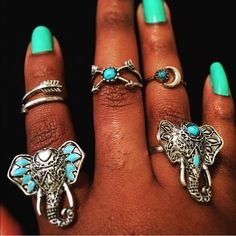 Tibetan Silver Jewelry - Elephant Ring and Eclectic Tibetan Silver Set
