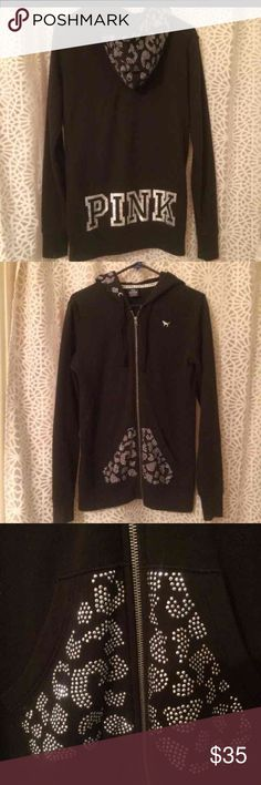 Black Victoria secret Pink hoodie leopard This is a sz xs no way is this an xs u would swim in it seriously !!!! It's a ️Medium !!! Been worn but honestly im not a huge vs fan and majority of all vs stuff is not r e a l on line ! I try to be as honest as possible I've worn this at least 4 times and it was washed twice I air dry my items like this so it doesn't have any fading but obviously Isint going to blackest of black !!!!!! Sequences look to be intact im going to say maybe 3 are missing…