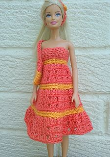 This dress is worked in rounds from the top down, using simple crochet sts. (UK terms) I have stated using a 3.25mm hook but if you don't have one a 3.50 will do. The bodice is tight fitting so if your doll is larger than barbie just add a few dc at the begining and adjust the pattern.