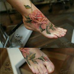 Foot tattoos for women, woman tattoos, bird tattoo foot, rose tattoos Tattoos For Women Flowers, Beautiful Flower Tattoos, Foot Tattoos For Women, Pretty Tattoos, Body Art Tattoos, Girl Tattoos, Arabic Tattoos, Neck Tattoos, Dragon Tattoos