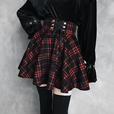 New fashion high waist laced plaid skirt sold by Harajuku fashion. Shop more products from Harajuku fashion on Storenvy, the home of independent small businesses all over the world. Hipster Goth, Hipster Outfits, Nu Goth, Gothic Outfits, Edgy Outfits, Mode Outfits, Grunge Outfits, Fashion Outfits, Egirl Fashion