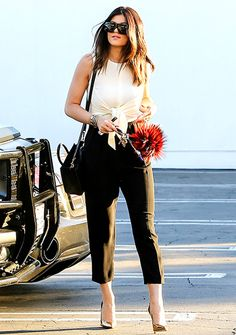 White knottop  black bottoms worn by Kylie Jenner