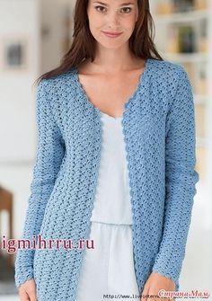Free crochet diagram for cardigan. Cardigan Au Crochet, Gilet Crochet, Crochet Coat, Crochet Shirt, Knitted Coat, Crochet Clothes, Crochet Cardigan Pattern Free Women, Crochet Bolero Pattern, Crochet Diagram