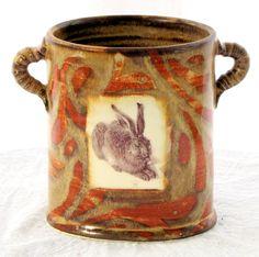 vase with Durer rabbit print