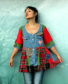 Crazy checker denim dress tunic top. Made from recycled clothing. Remade, reused and upcycled. Funny and useful design. Hippie boho style. One of a kind. Size: L-XL (european 40-42) Bust lina max 46 inches (116 cm) Hips line max 51 inches (130 cm) Length about 30 inches (77 cm)