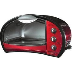 Chef Pepin Stainless-Steel Toaster Oven with Broiler Function, Metallic Red Chef Pepin, Viking Stove, Stainless Steel Toaster, Oven Design, Big Chill, Black Appliances, Quality Kitchens, Specialty Appliances