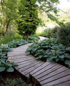 Wood garden path