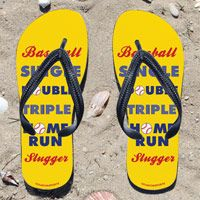 Baseball Slugger Hit for the Cycle Flip Flops - Kick back after a baseball game with these great flip flops! Fun and functional flip flops for all baseball players and fans.