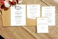 The Ashley Shabby Chic Damask Monogram Pocketfold Wedding Invitation Suite - Krystals Wedding Invitations  #weddings #wedding invitations