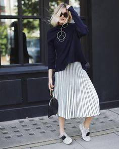 A Sweater, Pleated Midi Skirt, and Sneakers | Thanksgiving Outfit Ideas | POPSUGAR Fashion Photo 17