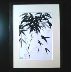 Bamboo Chinese Brush Painting Art Original by ArtDuSoleil on Etsy
