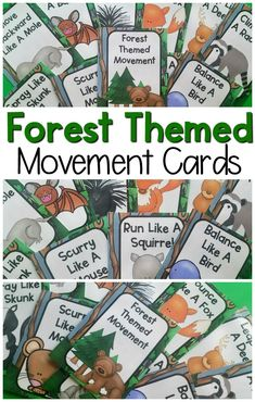 Forest Movement Cards and Printables Fun gross motor activities with a forest theme! These are great for your forest unit or woodland unit. They are an awesome addition to your preschool gross motor or kindergarten gross motor. A great way to add movement Forest School Activities, Nature Activities, Preschool Activities, Preschool Camping Theme, Ecosystem Activities, Movement Preschool, Movement Activities, Music Activities, Preschool Printables