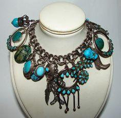 Loaded Southwestern Native American Turquoise Big Bold Bracelet Treasures Charms Sterling Silver Vintage