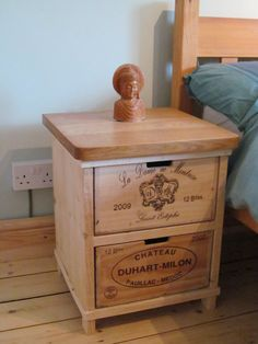 Rustic wine box bedside table Handmade by BoisRustique on Etsy Wine Crate Table, Wooden Wine Crates, Crate Furniture, Recycled Furniture, Handmade Bedside Tables, Wood Shop Projects, French Country Furniture, Wine Display, White Wine Grapes