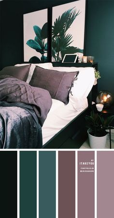 Mauve Bedroom, Bedroom Green, Room Ideas Bedroom, Home Decor Bedroom, Emerald Bedroom, Mauve Living Room, Dark Teal Bedroom, Emerald Green Bedrooms, Grey Green Bedrooms