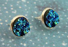 Blue Druzy Earrings, Drusy Earrings, Faux Druzy, Galaxy Jewellery, Galaxy Earrings, Blue Earrings, Druzy, Stud Earrings, Druzy Jewellery