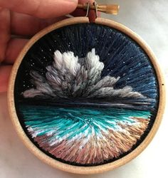 """Billowing Clouds And Rainbow-Hued Sunsets Created With Textured Embroidery sosuperawesome: """"Embroidery Wall Art and Brooches Shimunia on Etsy See our or tags """" Russian artist Vera Shimunia creates colorful embroidery designs that look like pieces of l Embroidery Hoop Crafts, Hand Embroidery Stitches, Cross Stitch Embroidery, Embroidery Designs, Tumblr Embroidery, Beginner Embroidery, Creative Embroidery, Embroidery Kits, Ribbon Embroidery"""