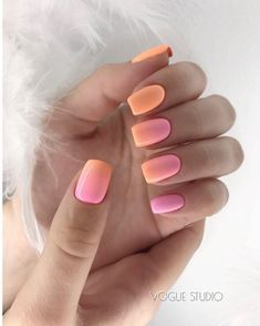 Ombre pink and orange nails. So pretty for summer.