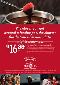 $30 off The Melting Pot - San Antonio Coupons and online discounts in San Antonio San Antonio. Coupons for The Melting Pot - San Antonio and it is a Fondue restaurant with a location at Blanco Road in San Antonio, TX