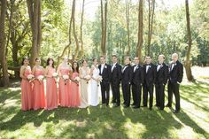 Coral, Black and White wedding party  Freed Photography