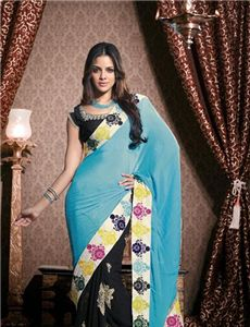 Adah_DN.15007 - Ravishing Black & Deep Blue Embroidered Saree