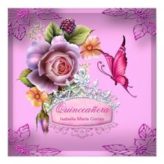 Quinceañera 15th Birthday PINK Tiara Butterfly Card
