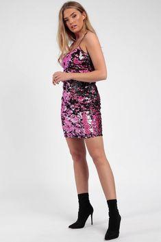 379cf97642a7a3 Two Tone Cami Sequin Bodycon Dress